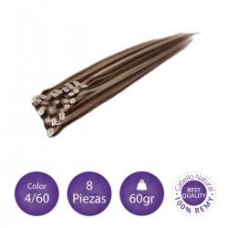 Color 4/60 castaño chocolate con rubio platino - Extensiones clip lisas 8 piezas 60gr