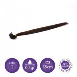 Extensiones keratina 0'5 gr/mechón 50cm largo color 2 castaño claro
