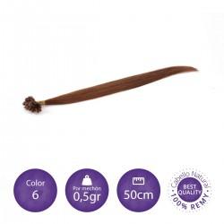 Color 6 castaño claro - Extensiones keratina lisas 0,5gr/mechón 50cm largo