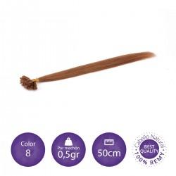 Color 8 rubio dorado - Extensiones keratina lisas 0,5gr/mechón 50cm largo