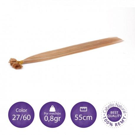 50 mechones de keratina 0'8gr/mechón 55cm largo COLOR 27/613