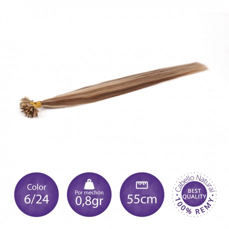 50 mechones de keratina 0'8gr/mechón 55cm largo COLOR 6/16