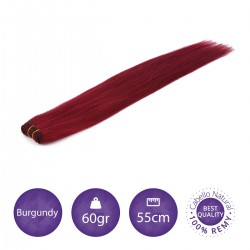Color burgundy - Cabello cosido liso 60gr 55cm largo