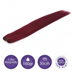 Color Burgundy - Cabello cosido liso 100gr 55cm largo