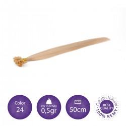 Extensiones keratina 0'5 gr/mechón 50cm largo color 24 rubio claro dorado