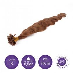 Color 8 rubio dorado - Extensiones keratina onduladas 0,8gr/mechón 50cm largo