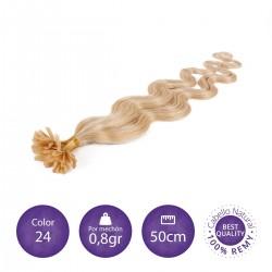 Color 24 rubio claro dorado - Extensiones keratina onduladas 0,8gr/mechón 50cm largo