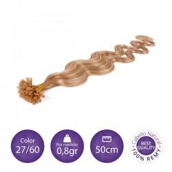 Color 27/60 Rubio dorado con rubio platino - Extensiones keratina onduladas 0,8gr/mechón 50cm largo