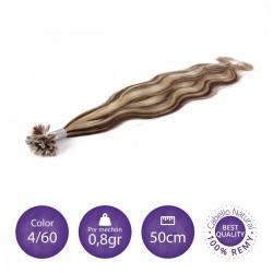 Color 4/60 castaño chocolate con rubio platino - Extensiones keratina onduladas 0,8gr/mechón 50cm largo