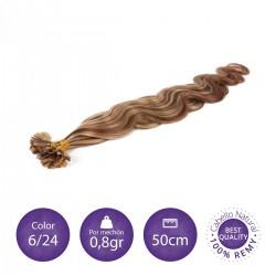 50 mechones keratina ONDULADA 0'8 gr/mechón 55 cm largo COLOR 6/16