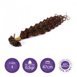 Color 4 chocolate - Extensiones keratina rizadas 0,8gr/mechón 47cm largo