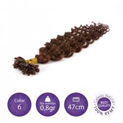 Color 6 castaño claro - Extensiones keratina rizadas 0,8gr/mechón 47cm largo