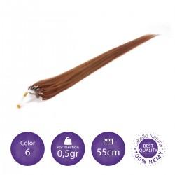 Color 6 castaño claro - Extensiones micro-loop lisas 0,5gr/mechón 55cm largo
