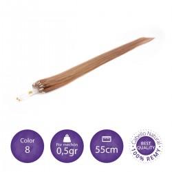 Color 8 rubio dorado - Extensiones micro-loop lisas 0,5gr/mechón 55cm largo