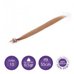Color 10 rubio medio - Extensiones micro-loop lisas 0,5gr/mechón 55cm largo