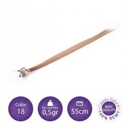 Color 18 rubio claro ceniza - Extensiones micro-loop lisas 0,5gr/mechón 55cm largo