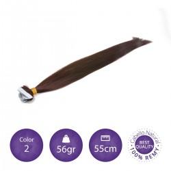 Extensiones adhesivas lisas 55cm largo color 2 castaño oscuro