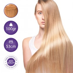 Extensiones cabello cosido lisas, 100gr 53cm largo - Fibra Kanekalon
