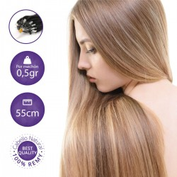 100 Extensiones Micro-loop lisas, 0.5gr/mechón 55cn largo - Cabello Natural 100% REMY