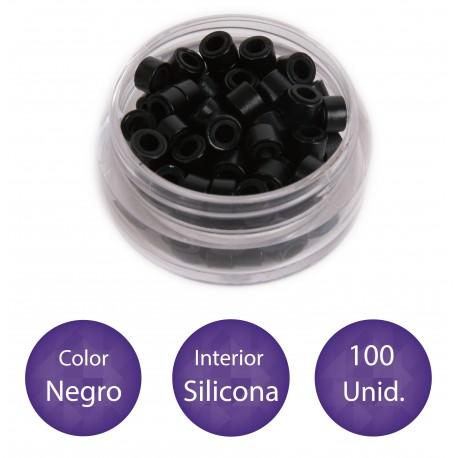 100 Anillas micro-ring con interior de silicona COLOR NEGRO