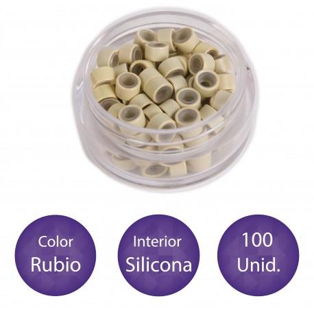 100 Anillas micro-ring con interior de silicona COLOR RUBIO PLATINO