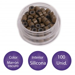 100 Anillas micro-ring con interior de silicona COLOR MARRÓN OSCURO