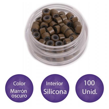 100 Anillas micro-ring con interior de silicona COLOR MARRÓN OSCURO
