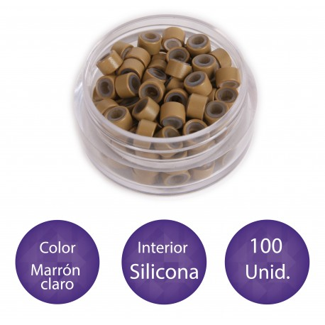 100 Anillas micro-ring con interior de silicona COLOR MARRÓN CLARO