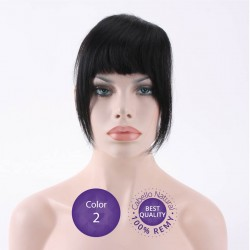 Color 2 Castaño oscuro - Flequillo postizo cabello natural