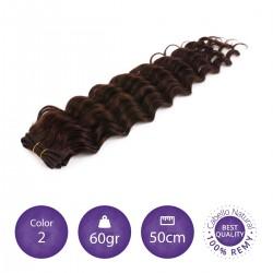 Color 2 castaño claro - Cabello cosido rizado 60gr 50cm largo