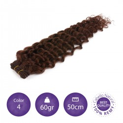Color 4 chocolate - Cabello cosido rizado 60gr 50cm largo