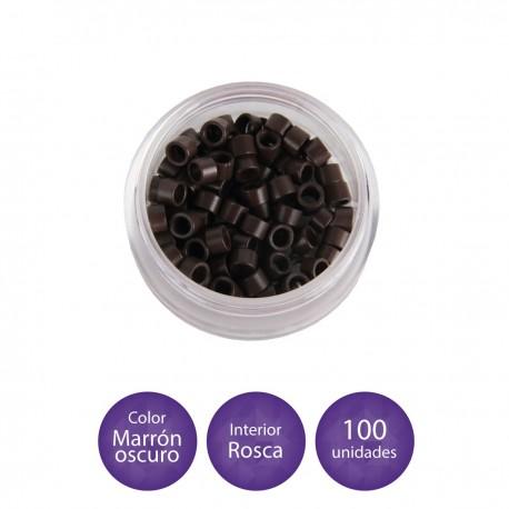100 Anillas micro-ring con rosca interior color negro