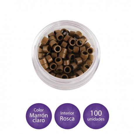 100 Anillas micro-ring con rosca interior color negro