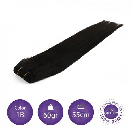Color 1B negro intermedio - Cabello cosido liso 60gr 55cm largo
