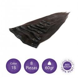 Color 1B negro intermedio - Extensiones clip lisas 8 piezas 60gr