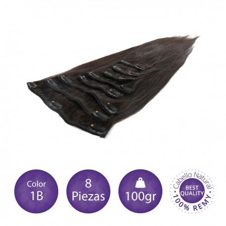 Color 1B negro intermedio - Extensiones clip lisas 8 piezas 100gr