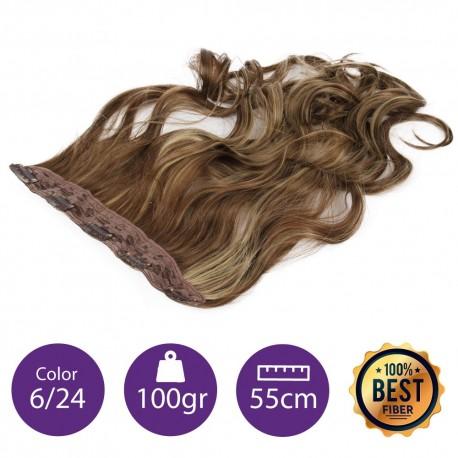 Extensiones de fibra resistentes al calor Cabello Rizado Color nº6/24 (Castaño claro/ rubio claro dorado ) 100gr, 55cm.