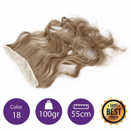 Extensiones de fibra resistentes al calor Cabello Rizado Color nº18 (Rubio ceniza) 100gr, 55cm.