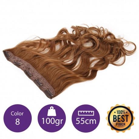 Extensiones de fibra resistentes al calor Cabello Rizado Color nº8 (Rubio medio dorado) 100gr, 55cm.