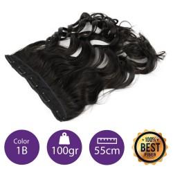 Extensiones de fibra resistentes al calor Cabello Rizado Color nº1B (Negro medio) 100gr, 55cm