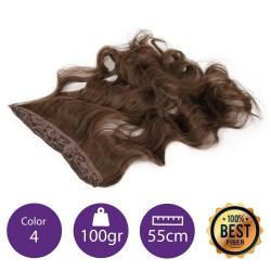 Extensiones de fibra resistentes al calor Cabello Rizado Color nº4 (Castaño) 100gr, 55cm