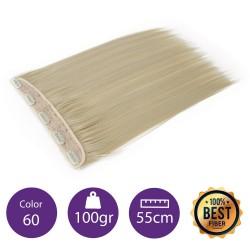 Extensiones de fibra resistentes al calor Cabello liso Color nº60 (Rubio platino) 100gr, 55cm.