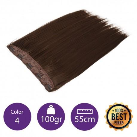 Extensiones de fibra resistentes al calor Cabello liso Color nº4 (Castaño) 100gr, 55cm