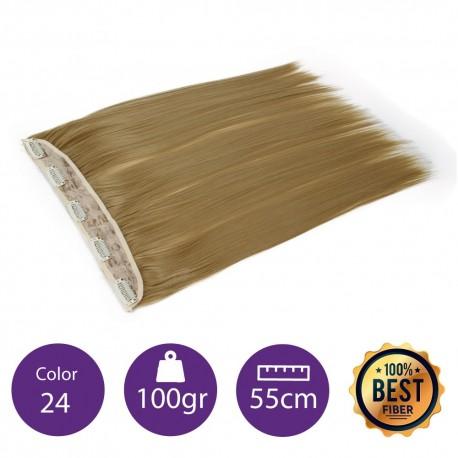 Extensiones de fibra resistentes al calor Cabello liso Color nº24 (Rubio claro dorado) 100gr, 55cm.
