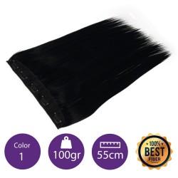 Extensiones de fibra resistentes al calor Cabello liso Color nº 1 ( Negro ). 100 Gr, 55cm