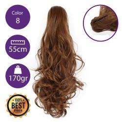 Coletero de fibra resistente al calor, cabello Rizado 55 cm largo 170gr COLOR 8 (Rubio Medio Dorado)
