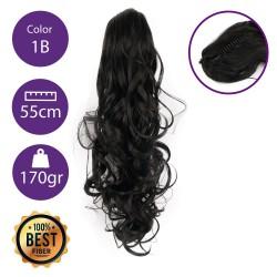 Coletero de fibra resistente al calor, cabello Rizado 55 cm largo 170gr COLOR 1B (Negro Medio )