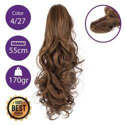 Coletero de fibra resistente al calor, cabello Rizado 55 cm largo 170gr COLOR 4/27 (Castaño Rubio Dorado)