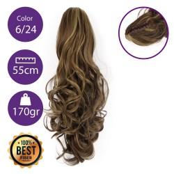 Coletero de fibra resistente al calor, cabello Rizado 55 cm largo 170gr COLOR 6/24 ( Castaño Claro/ Rubio Claro Dorado )