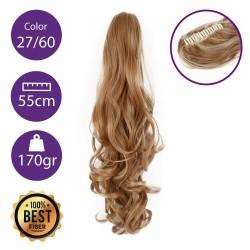 Coletero de fibra resistente al calor, cabello Rizado 55 cm largo 170gr COLOR 27/60 ( Rubio Dorado/ Rubio platino )